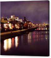 Kyoto Nighttime City Scenery Of Kamo River With Street Lights Re Canvas Print