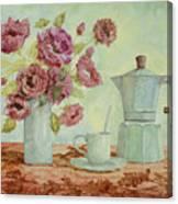La Caffettiera E I Fiori Amaranto Canvas Print