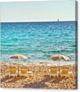 La Croisette Beach, Cannes, Cote D'azur, France Canvas Print