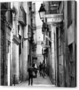 La Rambia Bw Street Gothic Quarter Narrow People  Canvas Print