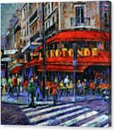 La Rotonde Paris Modern Impressionist Palette Knife Oil Painting Canvas Print