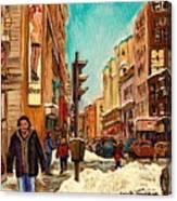La Senza St Catherine Street Downtown Montreal Canvas Print