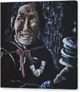 Ladakhi Woman Spinning A Prayer Wheel Canvas Print