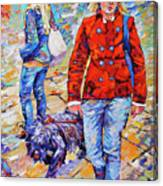 Lady  And Dog Canvas Print