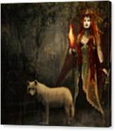 Lady And The Wolf Canvas Print