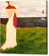 Lady At The Ocean Canvas Print