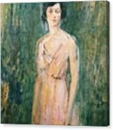 Lady In A Pink Dress Canvas Print