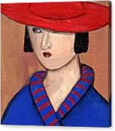 Lady In A Red Hat And Blue Coat Canvas Print