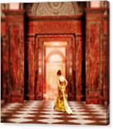 Lady In Golden Gown Walking Through Doorway Canvas Print
