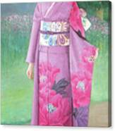 Lady In Purple Kimono Canvas Print