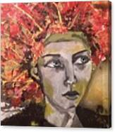 Lady In Red Headdress Canvas Print