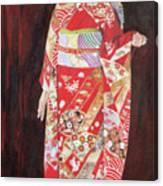 Lady In Red Kimono Canvas Print