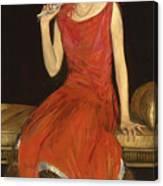 Lady In Red - Mrs Owen Barton Jones Canvas Print