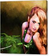 Lady In The Ferns Canvas Print