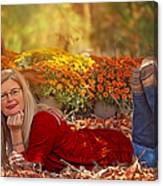 Lady In The Leaves Canvas Print