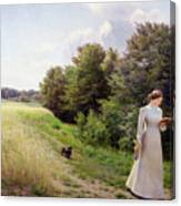 Lady In White Reading  Canvas Print
