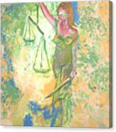 Lady Justice And The Man Canvas Print