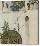 Lady On A Balcony, Capri Canvas Print