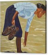 Lady On The Seashore Canvas Print