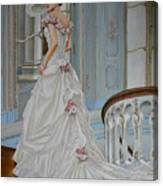 Lady On The Staircase Canvas Print