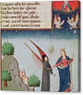 Lady Philosophy Leads Boethius In Flight Into The Sky On The Wings That She Has Given Him Canvas Print