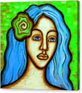 Lady With Green Flower Canvas Print
