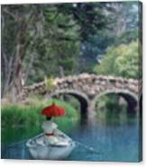 Lady With Parasol In Boat Canvas Print