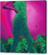 Lady With Plants In Green Canvas Print