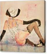 Ladyinhat03 - Watercolor Canvas Print