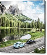 Laferrari And Gt3rs In The Dolomites Canvas Print