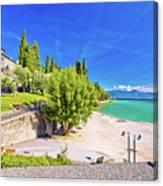 Lago Di Garda Beach In Sirmione View Canvas Print