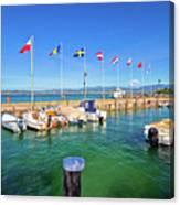 Lago Di Garda Harbor In Sirmione View Canvas Print