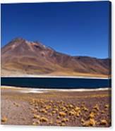 Laguna Miniques And Miniques Volcano Chile Canvas Print