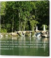 Lake At Cinco Ranch With Scripture Canvas Print