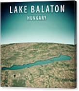Lake Balaton 3d Render Satellite View Topographic Map Vertical Canvas Print