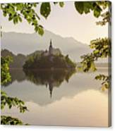 Lake Bled In The Morning Canvas Print