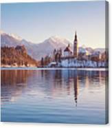 Lake Bled Winter Sunrise Canvas Print