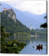 Lake Bled With Row Boat Canvas Print