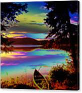 Lake Canoe Canvas Print