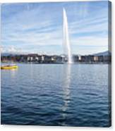 Lake Geneva Switzerland With Water Fountain And Water Taxi On A  Canvas Print