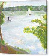 Lake Harriet With Sailboat And Angler Canvas Print