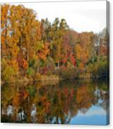 Lake Helene And Fall Foliage Canvas Print