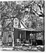Lake House Black And White Canvas Print