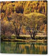 Lake In Autumn - 3 - French Alps Canvas Print