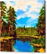 Lake In The Forest  Canvas Print