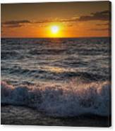 Lake Michigan Sunset With Crashing Shore Waves Canvas Print