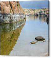 Lake Reflections At Granite Dells Canvas Print