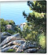 Lake Tahoe And Boulders Canvas Print