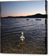 Lake Tahoe Sunset With Rocks And Black Framing Canvas Print