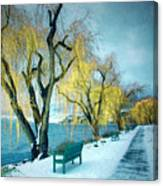 Lakeshore Walkway In Winter Canvas Print